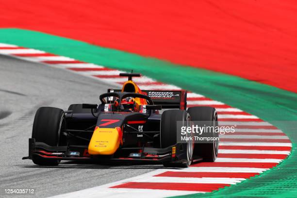 Yuki Tsunoda of Japan and Carlin drives on track during practice for the Formula 2 Championship at Red Bull Ring on July 03, 2020 in Spielberg,...