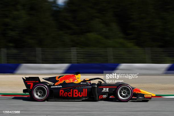 Yuki Tsunoda of Japan and Carlin drives on track during qualifying for the Formula 2 Championship at Red Bull Ring on July 10, 2020 in Spielberg,...