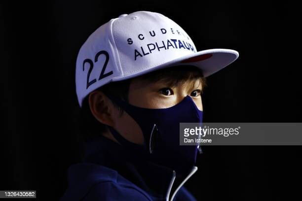 Yuki Tsunoda of Japan and Scuderia AlphaTauri talks in the Drivers Press Conference during previews ahead of the F1 Grand Prix of Austria at Red Bull...