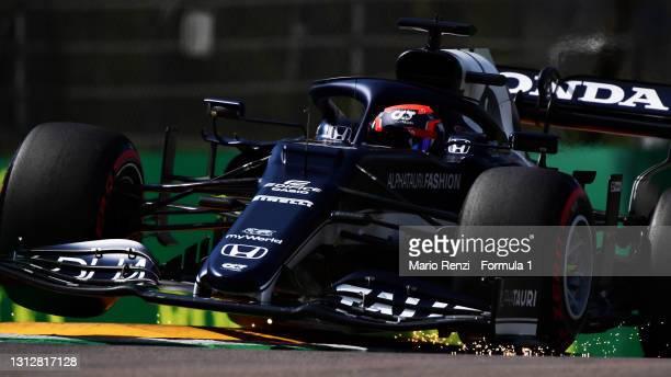 Yuki Tsunoda of Japan driving the Scuderia AlphaTauri AT02 Honda launches off a raised kerb during practice ahead of the F1 Grand Prix of Emilia...