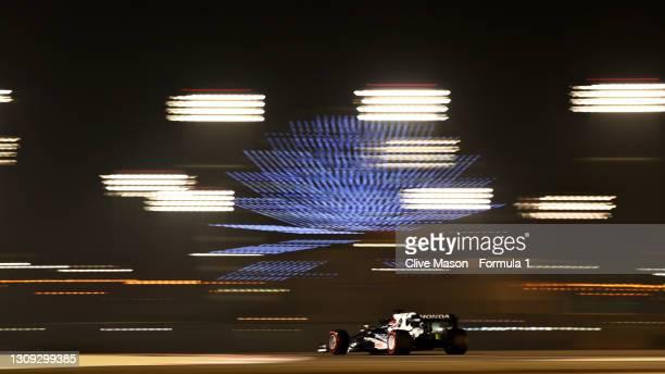 Yuki Tsunoda of Japan driving the Scuderia AlphaTauri AT02 Honda on track during practice ahead of the F1 Grand Prix of Bahrain at Bahrain...