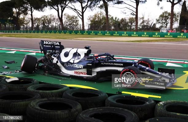 Yuki Tsunoda of Japan driving the Scuderia AlphaTauri AT02 Honda stops on track after a crash during qualifying ahead of the F1 Grand Prix of Emilia...