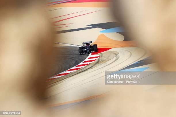 Yuki Tsunoda of Japan driving the Scuderia AlphaTauri AT02 Honda during practice ahead of the F1 Grand Prix of Bahrain at Bahrain International...