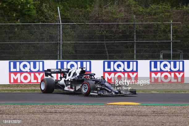 Yuki Tsunoda of Japan driving the Scuderia AlphaTauri AT02 Honda spins during the F1 Grand Prix of Emilia Romagna at Autodromo Enzo e Dino Ferrari on...