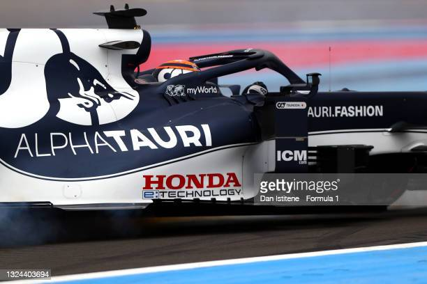 Yuki Tsunoda of Japan driving the Scuderia AlphaTauri AT02 Honda spins during qualifying ahead of the F1 Grand Prix of France at Circuit Paul Ricard...
