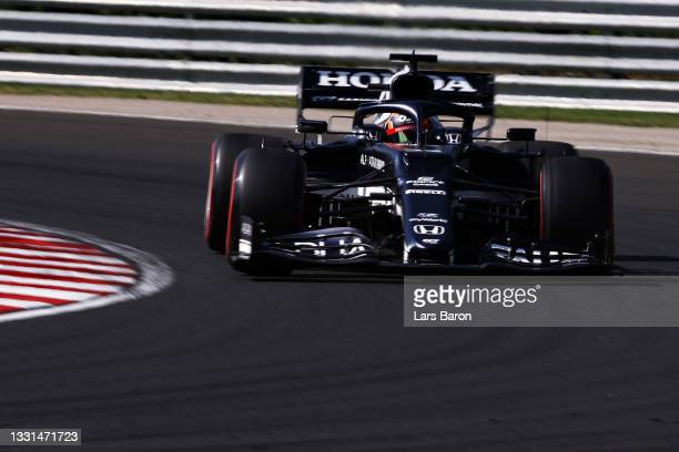 Yuki Tsunoda of Japan driving the Scuderia AlphaTauri AT02 Honda during practice ahead of the F1 Grand Prix of Hungary at Hungaroring on July 30,...