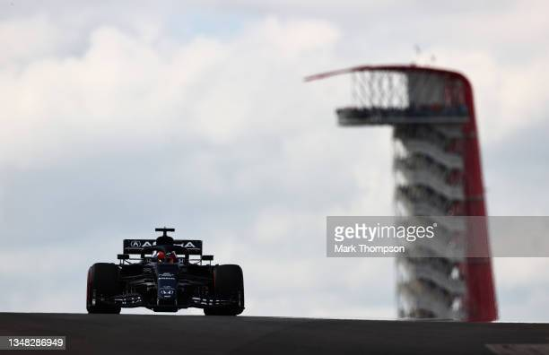Yuki Tsunoda of Japan driving the Scuderia AlphaTauri AT02 Honda during final practice ahead of the F1 Grand Prix of USA at Circuit of The Americas...