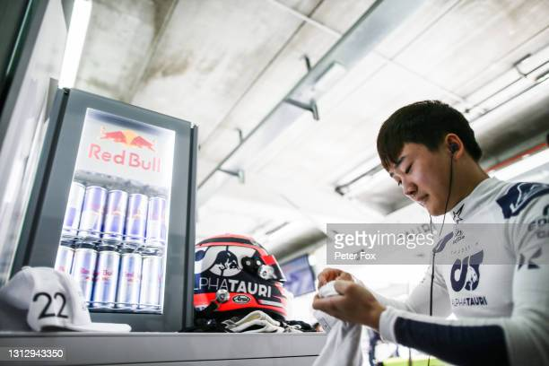 Yuki Tsunoda of Scuderia AlphaTauri and Japan during final practice ahead of the F1 Grand Prix of Emilia Romagna at Autodromo Enzo e Dino Ferrari on...