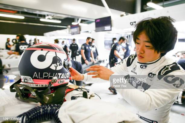 Yuki Tsunoda of Scuderia AlphaTauri and Japan during the F1 Young Drivers Test at Yas Marina Circuit on December 15, 2020 in Abu Dhabi, United Arab...