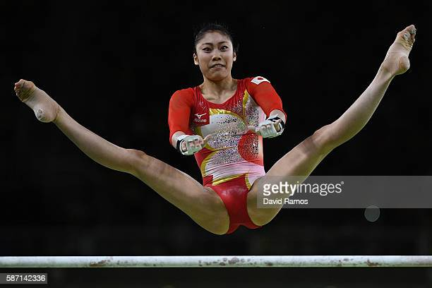 Yuki Uchiyama of Japan competes on the uneven bars during Women's qualification for Artistic Gymnastics on Day 2 of the Rio 2016 Olympic Games at the...