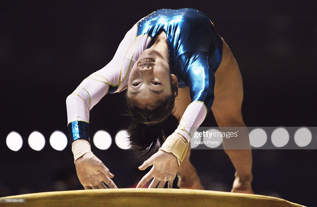 Yuki Uchiyama of Japan performs her vault during day two of the 67th All Japan Artistic Gymnastics Individual All Around Championship at Yoyogi National Gymnasium on May 12, 2013 in Tokyo, Japan.