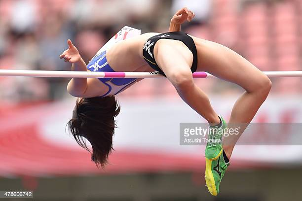 Yuki Watanabe of Japan competes in the Womens High Jump final during the 99th Japan Athletics National Championships at Denka Big Swan Stadium on...