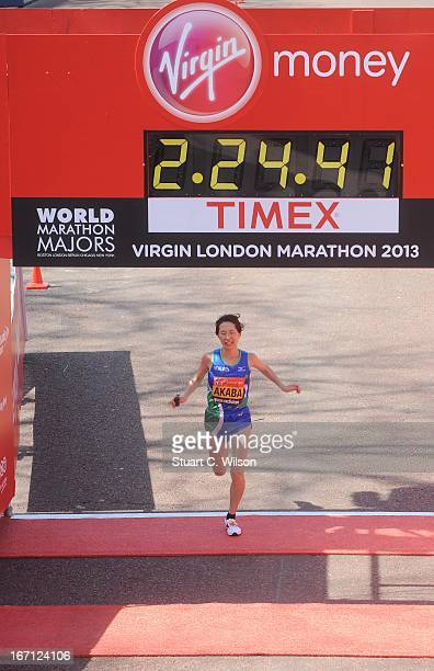 Yukiko Akaba of Japan finishes in third place during the womens elite race at the 2013 Virgin London Marathon on April 21 2013 in London England