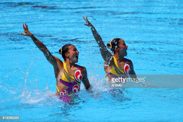 Yukiko Inui and Kanami Nakamaki of Japan compete during the Synchronized Swimming Duet Free final on day seven of the Budapest 2017 FINA World...