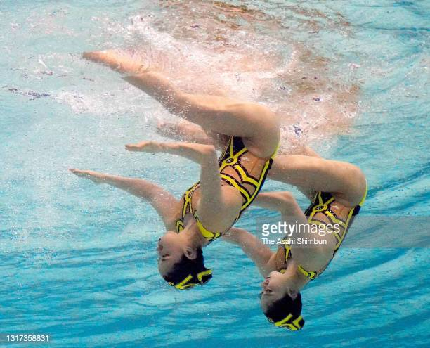 Yukiko Inui and Megumu Yoshida competes in the Duet Free Routine on day three of the Artistic Swimming Japan Championships at Towa Pharmaceutical...