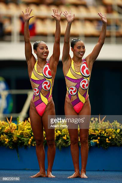 Yukiko Inui and Risako Mitsui of Japan compete in the Synchronised Swimming Duets Free Routine final on Day 11 of the Rio 2016 Olympic Games at the...
