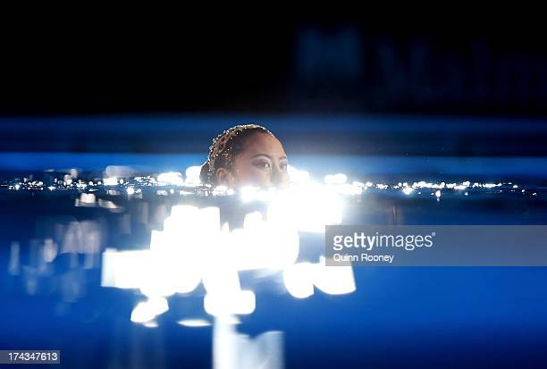 Yukiko Inui of Japan competes in the Synchronized Swimming Solo Free final on day five of the 15th FINA World Championships at Palau Sant Jordi on...