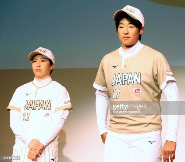 YUkiko Ueno and Eri Yamada pose for photographs at the Japan Women's Softball Team new uniform unveiling on APril 16 2018 in Tokyo Japan