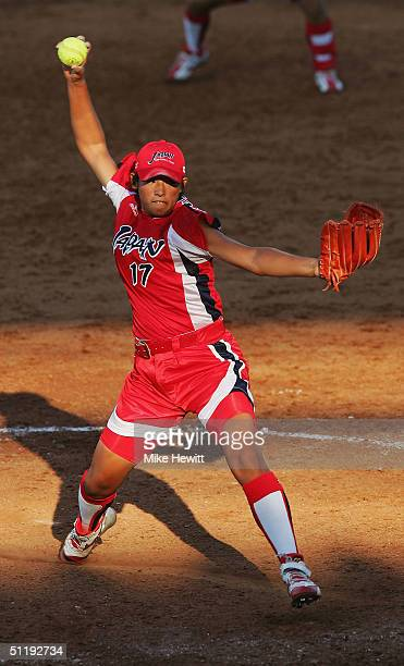 Yukiko Ueno of Japan pitches during the preliminary softball game against Italy on August 19 2004 during the Athens 2004 Summer Olympic Games at the...