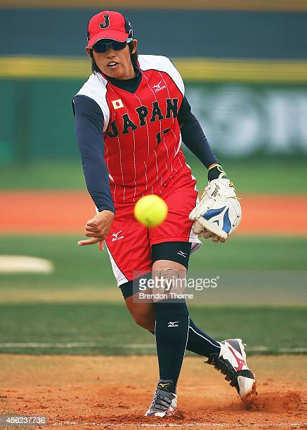 Yukiko Ueno of Japan pitches in the Group A Preliminary Match between Japan and Chinese Taipei during day nine of the 2014 Asian Games at Songdo LNG...