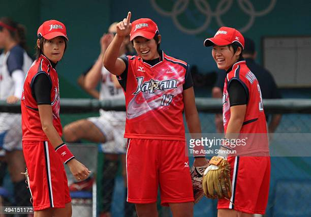 Yukiko Ueno of Japan smiles during the women's semifinal softball game between Japan and the United States at the Fengtai Softball Field during day...