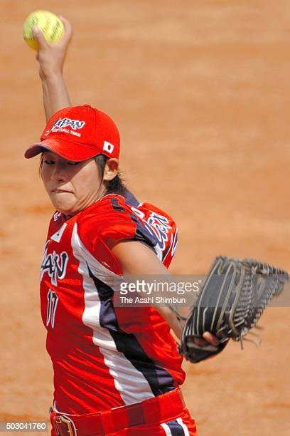 Yukiko Ueno of Japan throws during the Softball Women's World Championship Group B match between Japan and Chinese Taipei at the Fengtai Softball...