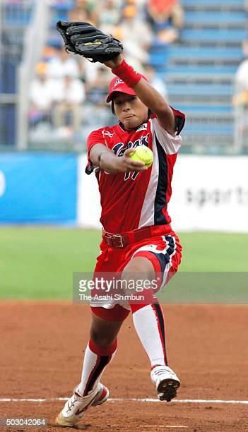 Yukiko Ueno of Japan throws during the Softball Women's World Championship Group B match between Japan and Australia at the Fengtai Softball Stadium...
