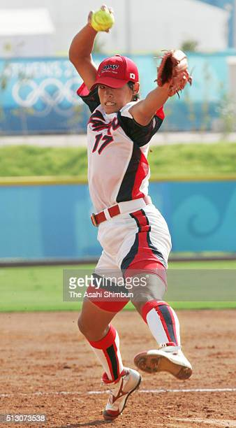 Yukiko Ueno of Japan throws in the Softball semi final match between Japan and China at the Olympic Softball Stadium during day nine of the Athens...