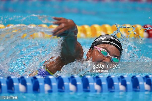 Yukimi Moriyama competes in the Women's 1500m Freestyle Final on day one of the Asian Games on August 19, 2018 in Jakarta, Indonesia.