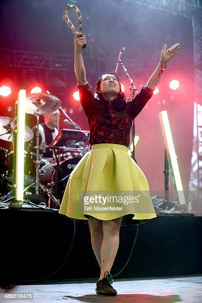Yukimi Nagano of Little Dragon performs as part of the Coachella Valley Music and Arts Festival at The Empire Polo Club on April 20 2014 in Indio...