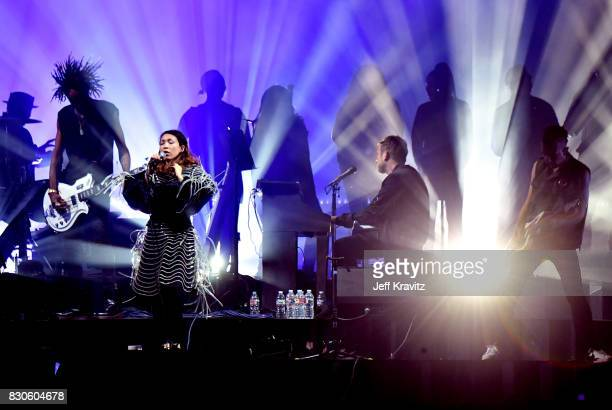 Yukimi Nagano of Little Dragon performs with Damon Albarn of Gorillaz on the Lands End stage during the 2017 Outside Lands Music And Arts Festival at...