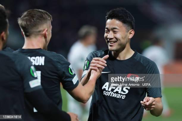 Yukinari Sugawara of AZ Alkmaar celebrate the goal during the UEFA Europa Conference League group D match between CFR Cluj and AZ Alkmaar at...