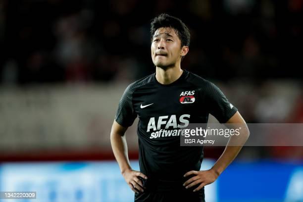 Yukinari Sugawara of AZ looks dejected during the Dutch Eredivisie match between FC Twente and AZ at De Grolsch Veste on September 23, 2021 in...