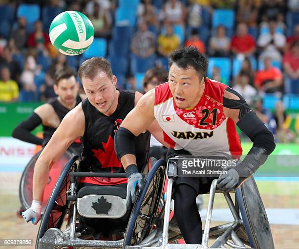 Yukinobu Ike of Japan competes in the Wheelchair Rugby bronze medal match between Japan and Canada at Carioca Arena 1 on day 11 of the Rio 2016...