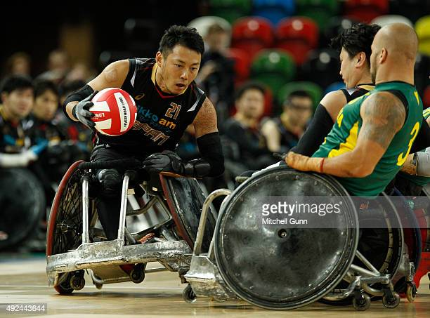 Yukinobu Ike of Japan during the 2015 BT World Wheelchair Rugby Challenge match between Australia and Japan at The Copper Box on October 13 2015 in...