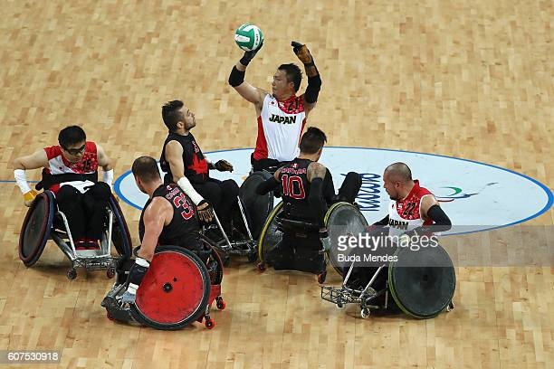 Yukinobu Ike of Japan in action during the Men's Wheelchair Rugby Bronze Medal match against Canada on day 11 of the Rio 2016 Paralympic Games at...