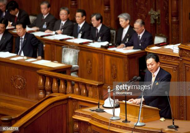 Yukio Hatoyama, Japan's prime minister, delivers his policy speech at the lower house of the Diet in Tokyo, Japan, on Monday, Oct. 26, 2009. Hatoyama...