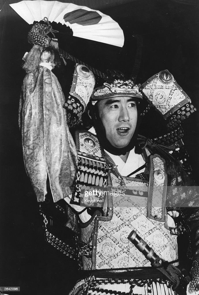 Yukio Mishima (Kimitake Hiraoka, 1925 - 1970), Japanese writer, novelist and essayist, in a traditional Samourai costume. He committed ritual suicide in the traditional Japanese way of 'hara-kiri'. Original Publication: People Disc - HN0091