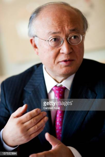 Yukiya Amano, Director General of the International Atomic Energy Agency (, gestures during an interview in the restaurant International Club in the...