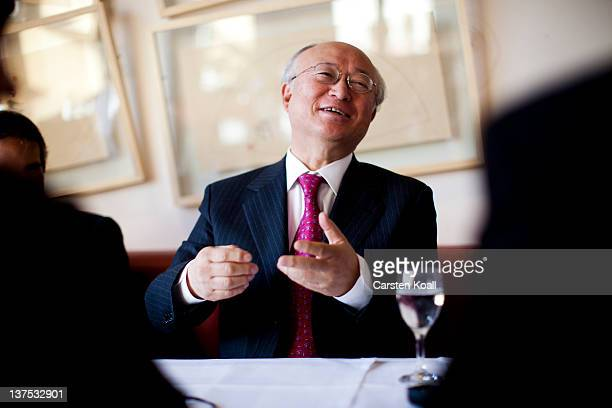 Yukiya Amano, Director General of the International Atomic Energy Agency , gestures during an interview in the restaurant International Club in the...