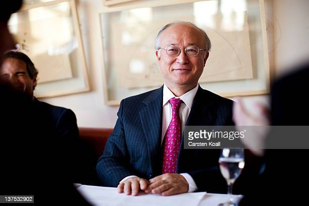 Yukiya Amano, Director General of the International Atomic Energy Agency , speaks during an interview in the restaurant International Club in the...