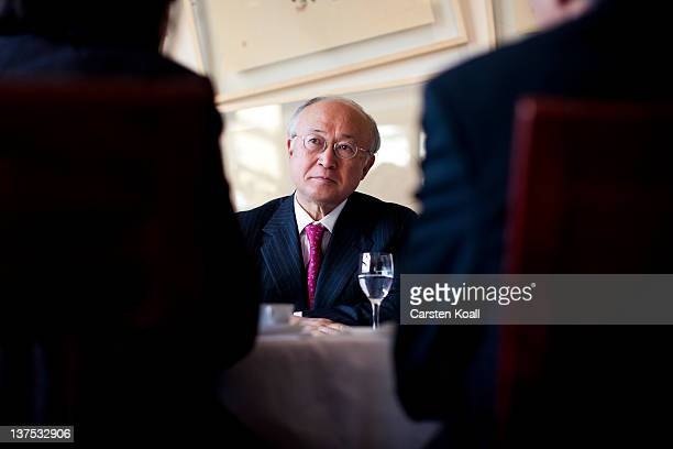 Yukiya Amano, Director General of the International Atomic Energy Agency , speakes during an interview in the restaurant International Club in the...
