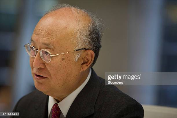Yukiya Amano, director general of the International Atomic Energy Agency , speaks during an interview in New York, U.S., on Tuesday, April 28, 2015....