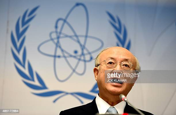 Yukiya Amano, director general of the International Atomic Energy Agency , speaks to journalists during his press conference of the IAEA Board of...