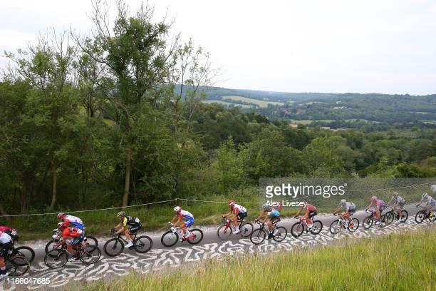 Yukiya Arashiro of Japan and Team Bahrain - Merida / Michael Hepburn of Australia and Team Mitchelton - Scott / Olivier Le Gac of France and Team...