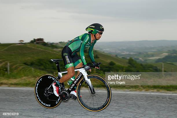 Yukiya Arashiro of Japan and Team Europcar in action during the twelfth stage of the 2014 Giro d'Italia a 42km Individual Time Trial stage between...