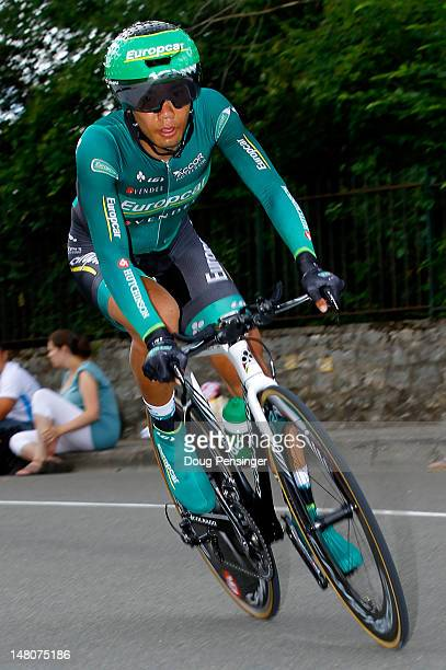 Yukiya Arashiro of Japan riding for Europcar races to 125th place in the individual time trial on stage nine of the 2012 Tour de France from...