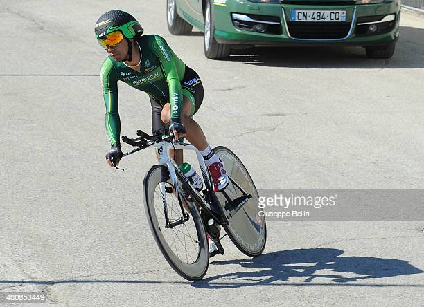 Yukiya Arashiro Team Europcar in action during stage seven of the 2014 Tirreno Adriatico a 91 km individual time trial stage on March 18 2014 in San...