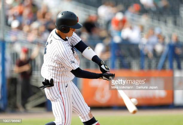 Yukiya Ito of Japan hits the ball in the 9th inning during the Haarlem Baseball Week game between Japan and Chinese Taipei at Pim Mulier Stadion on...