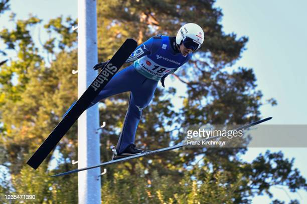 Yukiya Sato of Japan competes during the FIS Grand Prix Skijumping Hinzenbach at on February 6, 2021 in Eferding, Austria.
